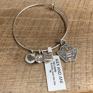 Alex and Ani Silver Tone Queen Bee Bracelet